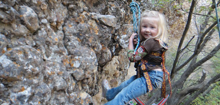 Photo of a child climbing