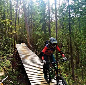 Melissa McGibbon rides The Boulevard trail at Trestle Bike Park