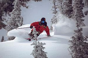 photo of skier at Powder mountain resort