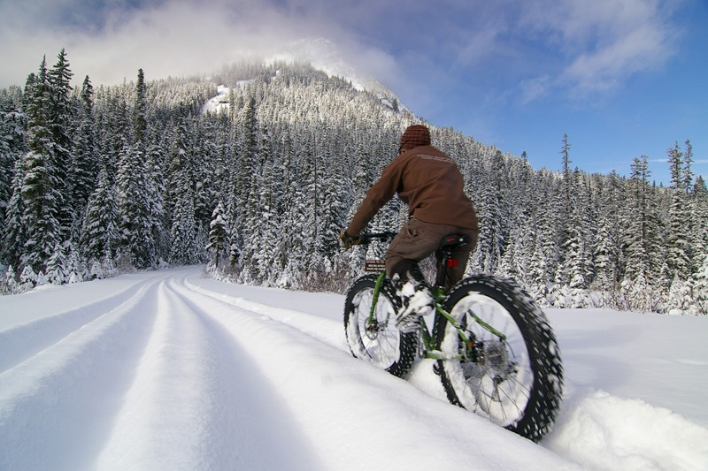winter cycling snow day