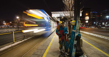 photo of skiers waiting for TRAX