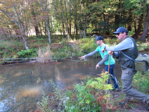 Fly fishing lesson at Lodge at Glendorn