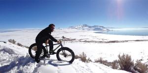 fat biker on scenic overlook