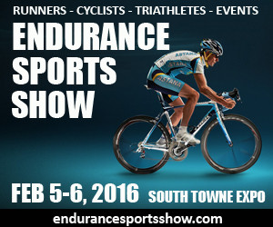 Announcement for the endurance sport show with a man on a bicycle