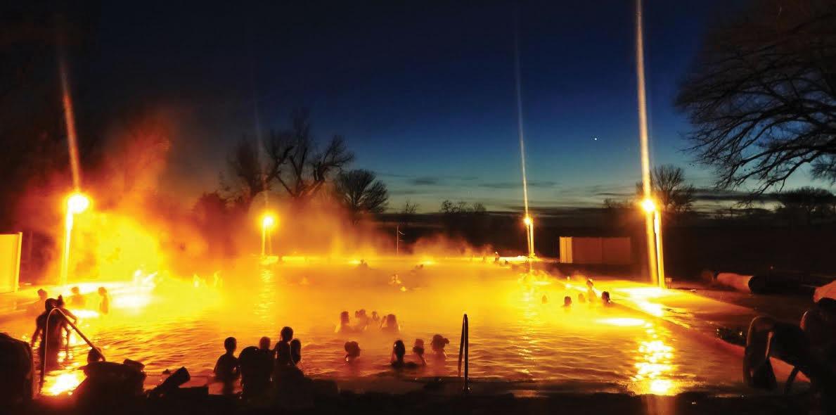 crystal hot springs pool at night