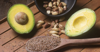 avocado and nuts on a table