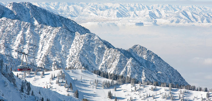 snowy mountains at snowbird resort with aerial tram