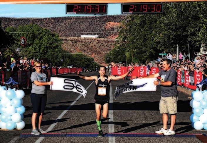 St. George marathon runner Aaron Metler at the finish line