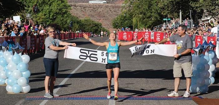 marathon runner Amber Green finishes the St. George marathon