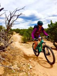 Melissa McGibbon rides the Hustle and Flow mountain biking trail in Santa Fe