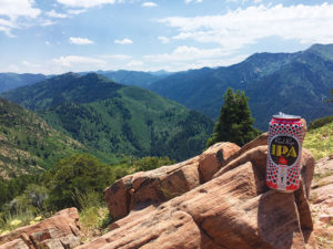 Photo of Moab Brewery's Red Rye IPA with a mountain backdrop