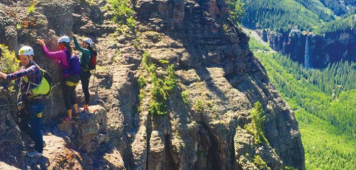 Photo of 3 climbers on Via Ferrata
