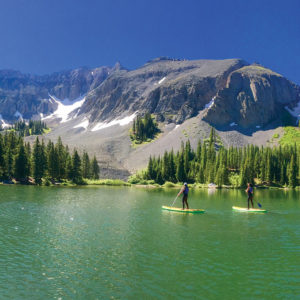 Photo of 2 stand up paddle boarders at Alta Lakes
