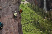 Climber's on The Main Event of Telluride, Colorado's Via Ferrato