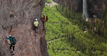 Climber's on The Main Event of Telluride, Colorado's Via Ferrato