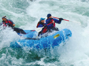 White water rafting the clackamas river action shot