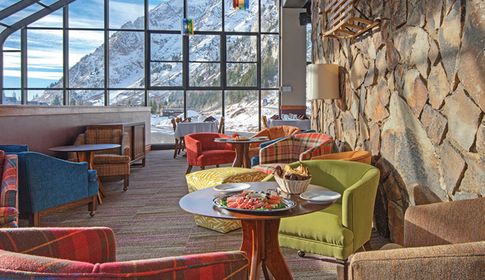 ski resort lounge overlooking mountain
