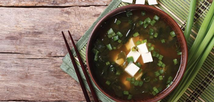Miso soup bowl on a table
