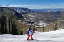 Jenny Willden snowboarding near Grand Junction, Colorado