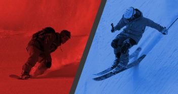Banner image with a red snowboarder and blue skier