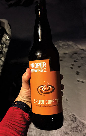 Proper Salted Caramel Porter bottle being held