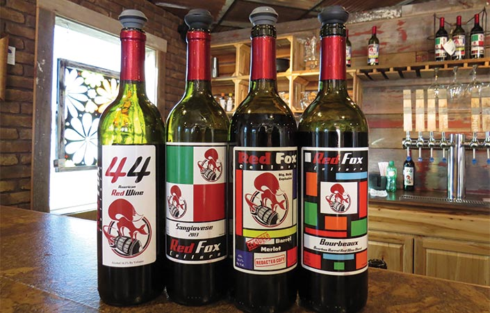 4 bottles of Red Fox Cellars wine