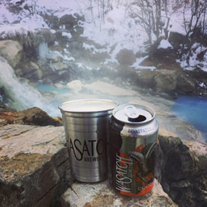 Wasatch Devastator can and cup on a rock at a hot springs