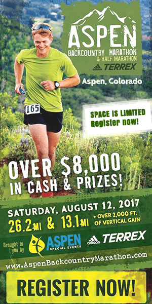 Aspen Marathon in Aspen, Colorado with runner in mountains