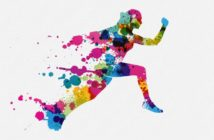 Color blot illustration of a runner