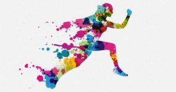 Color blot illustration of a runner