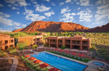 Red Mountain Resort Hotel with red rock background