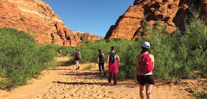 Girls hiking in Red Rock Desert