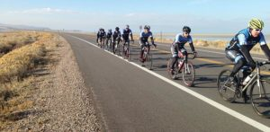 Cyclists on a road at Antelope island