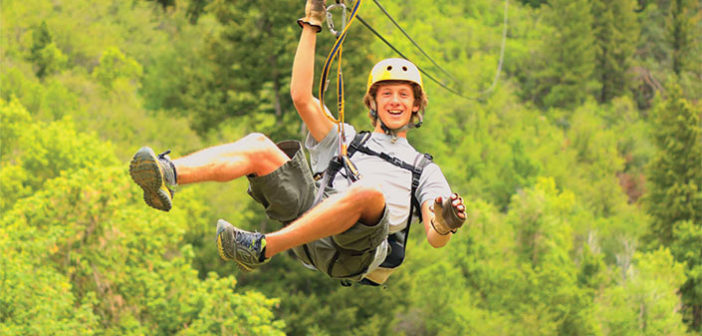 Man Ziplining with forest background