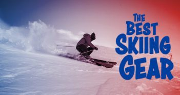 Skiing gear graphic with skier the best skiing gear headline