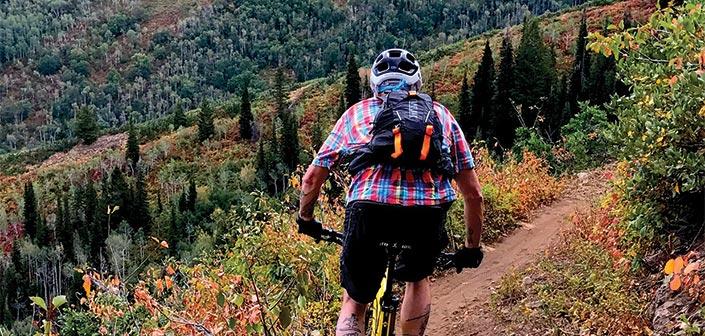 Mountain Biker on an autumn mountain bike ride