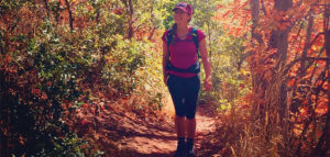 Editor Jenny Willden Hiking Grandeur Peak in the Autumn