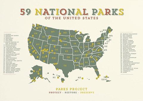 Parks Project 59 Parks Vintage Map image