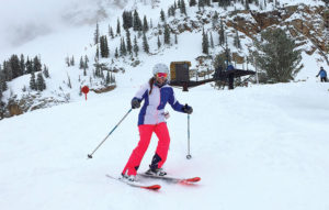 Editor Jenny Willden Skiing at Alta, Utah.