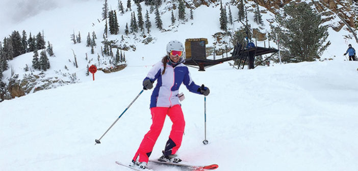 Editor Jenny Willden Skiing at Alta, Utah.