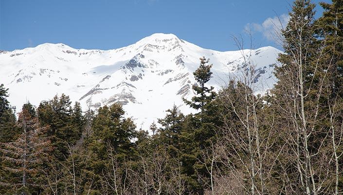 A snowy mountain peak