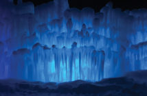 Midway Ice Castle illuminated