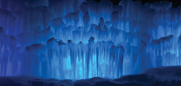 Midway Ice Castle illuminated