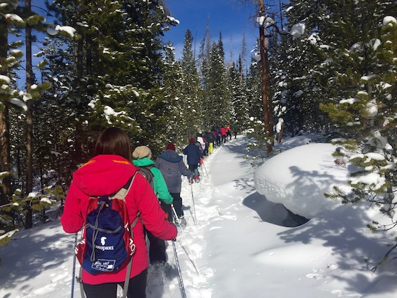 snowshoeing in rocky mountain national park in grand county colorado