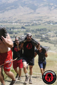 The author carrying sandbag uphill