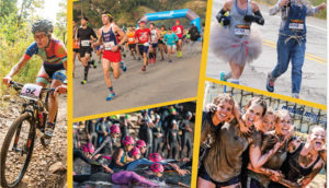 Collage of racers competing