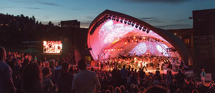 Deer Valley Music Festival crowd and stage at night