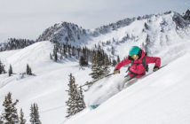 Woman skiing in powder