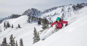 Woman skiing in powder
