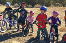 A group of children on bicycles